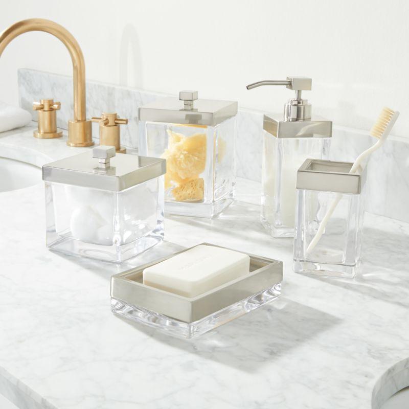 Stretten Nickel Trim Glass Bath Accessories Crate And Barrel