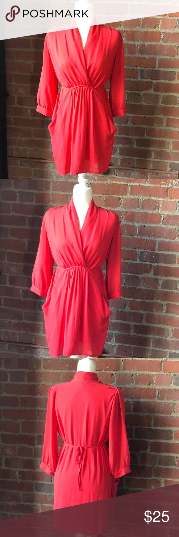 Collective concepts sleeve pockets tie dress in my posh