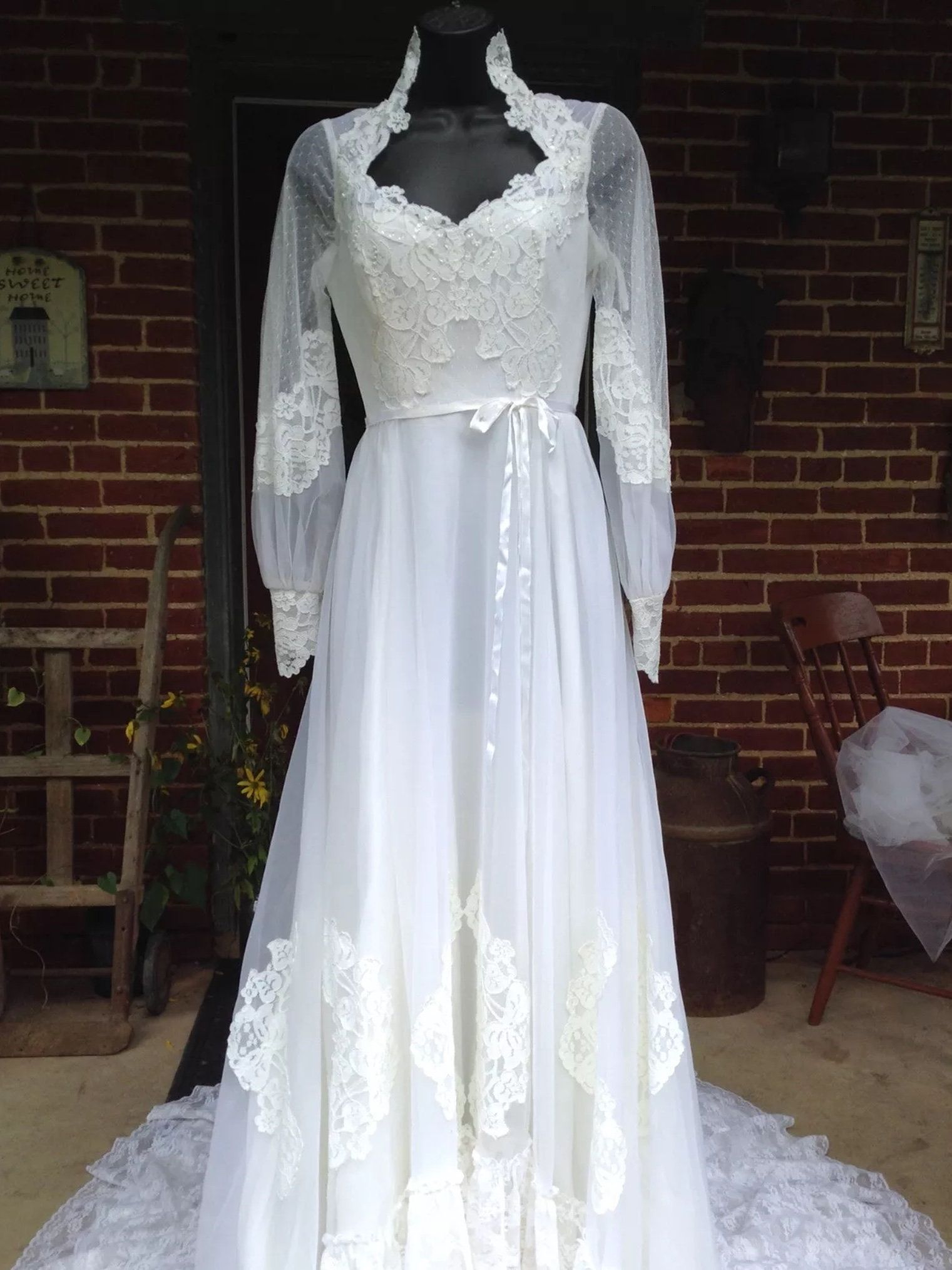 Vintage Alfred Angelo Wedding Dress White Lace Tulle A