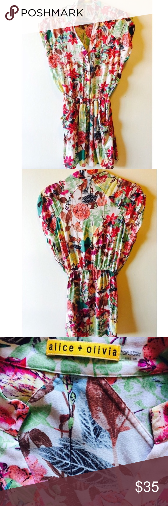 Alice + Olivia Tunic Shirt, xs Cute cap sleeve top with bright floral pattern. Could be worn as a dress on a shorter gal 👌🏼 Alice + Olivia Tops Tunics