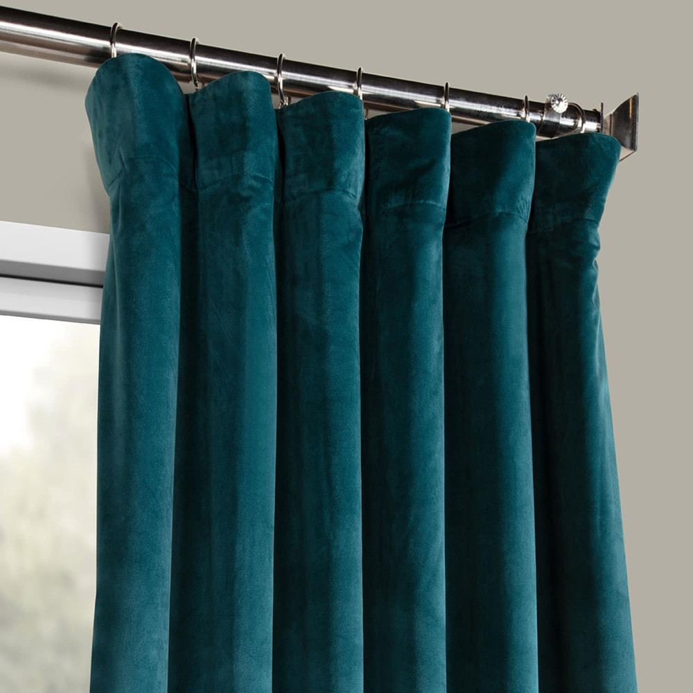 Deep Sea Teal Heritage Plush Velvet Curtain Blue Bedroom Decor