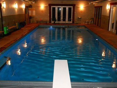 Mansion with indoor pool with diving board  New indoor pool 20' x 45' with diving board, heated floors and ...