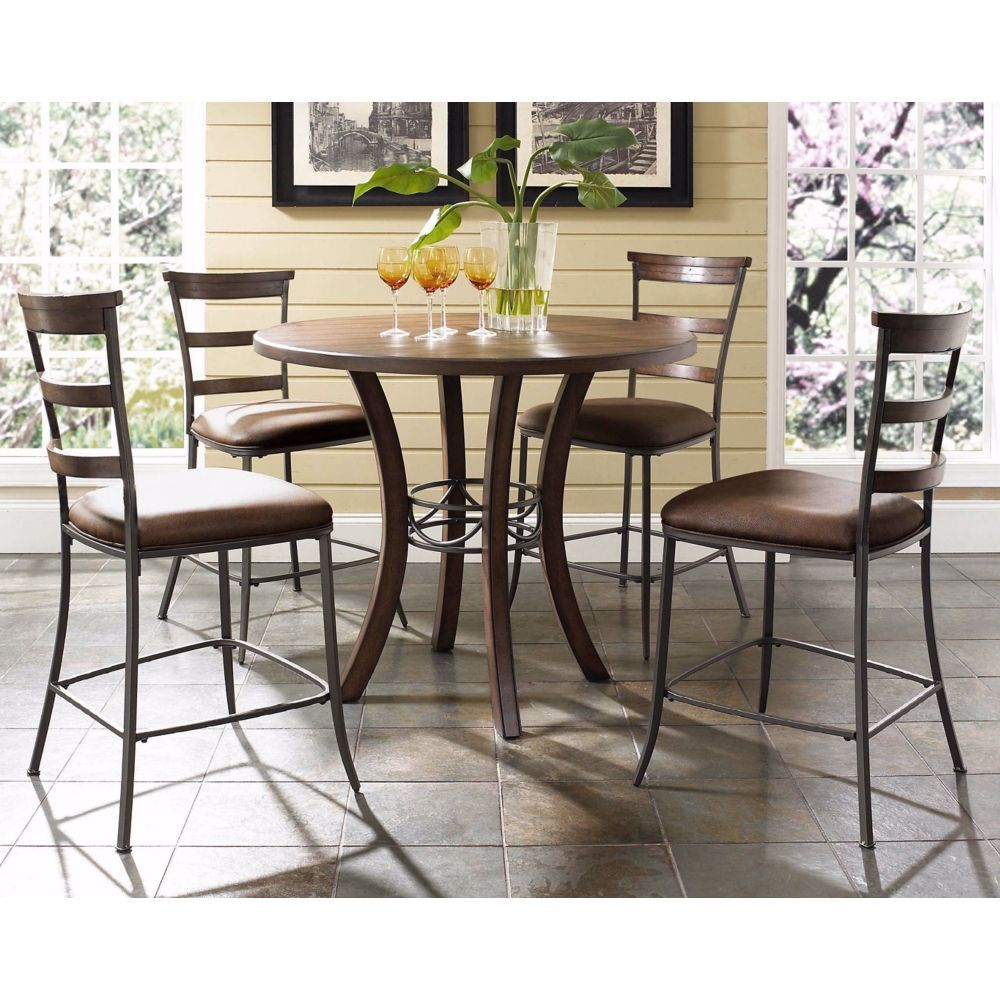 Hillsdale cameron ladder round counter height dining set style