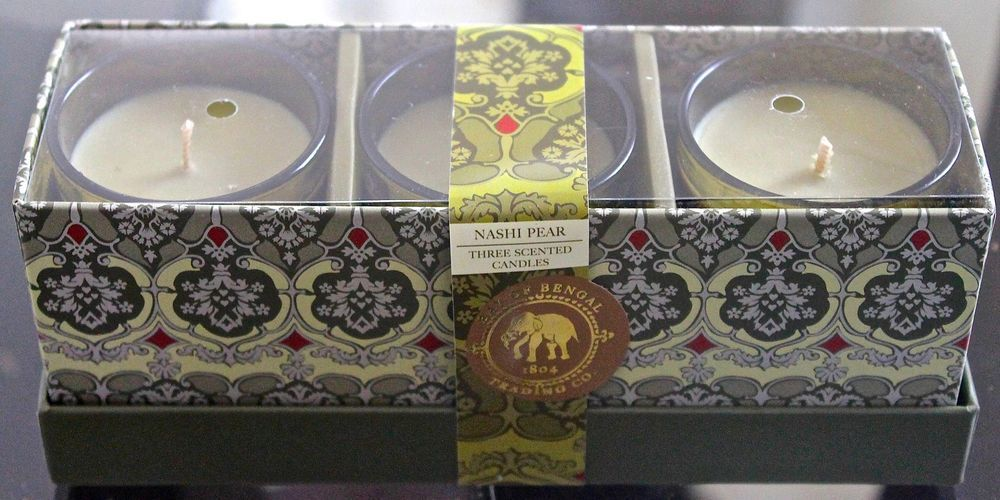 DW HOME NASHI PEAR CANDLE NEW SET OF 3 SOY 2.4OZ EACH GLASS 1 WICK BEN4004 #DwHome