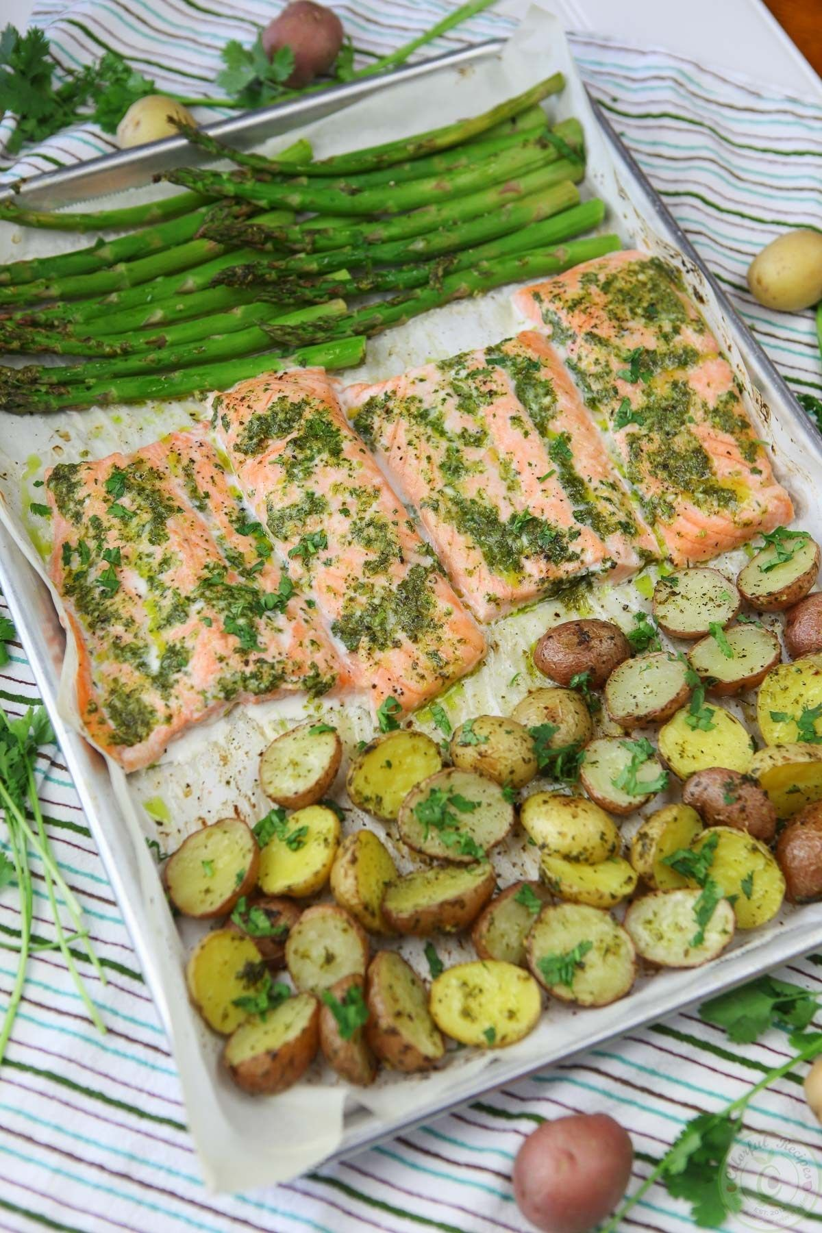 One Pan Salmon and Veggies with Cilantro Garlic Citrus Butter – Colorful Recipes