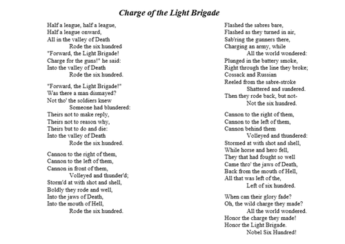 the blind side charge of the light brigade essay Half a league, half a league, half a league onward, all in the valley of death rode the six hundred forward, the light brigade charge for the guns.