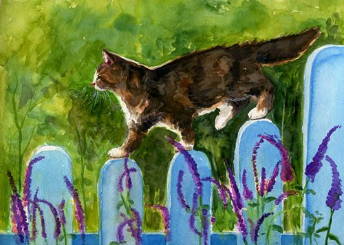 Original-Aquarell-Glueckskatze-im-Garten-Katze-Calico-Cat-Chat-Art-by-AiA