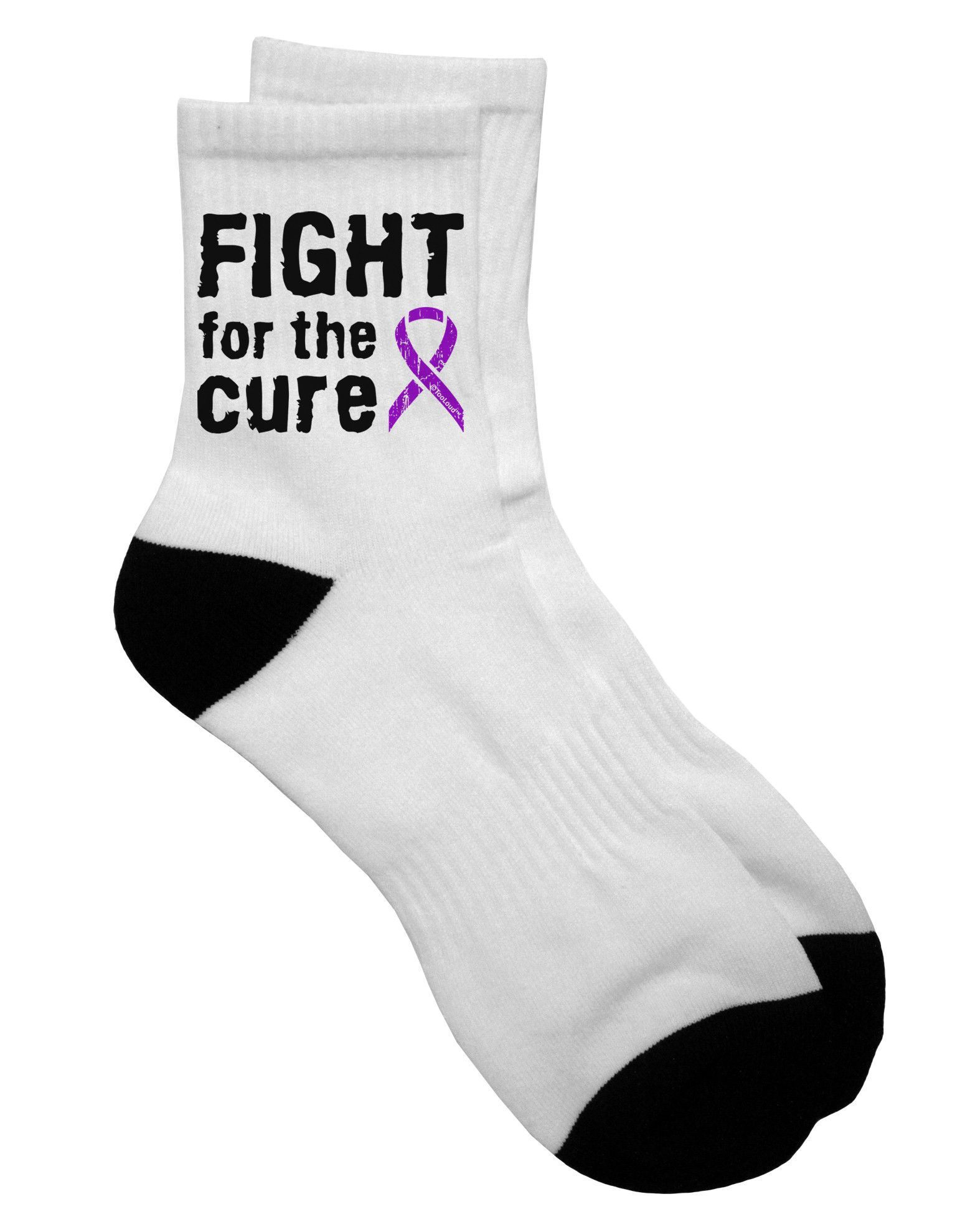 TooLoud Fight for the Cure - Purple Ribbon Alzheimers Disease Adult Short Socks
