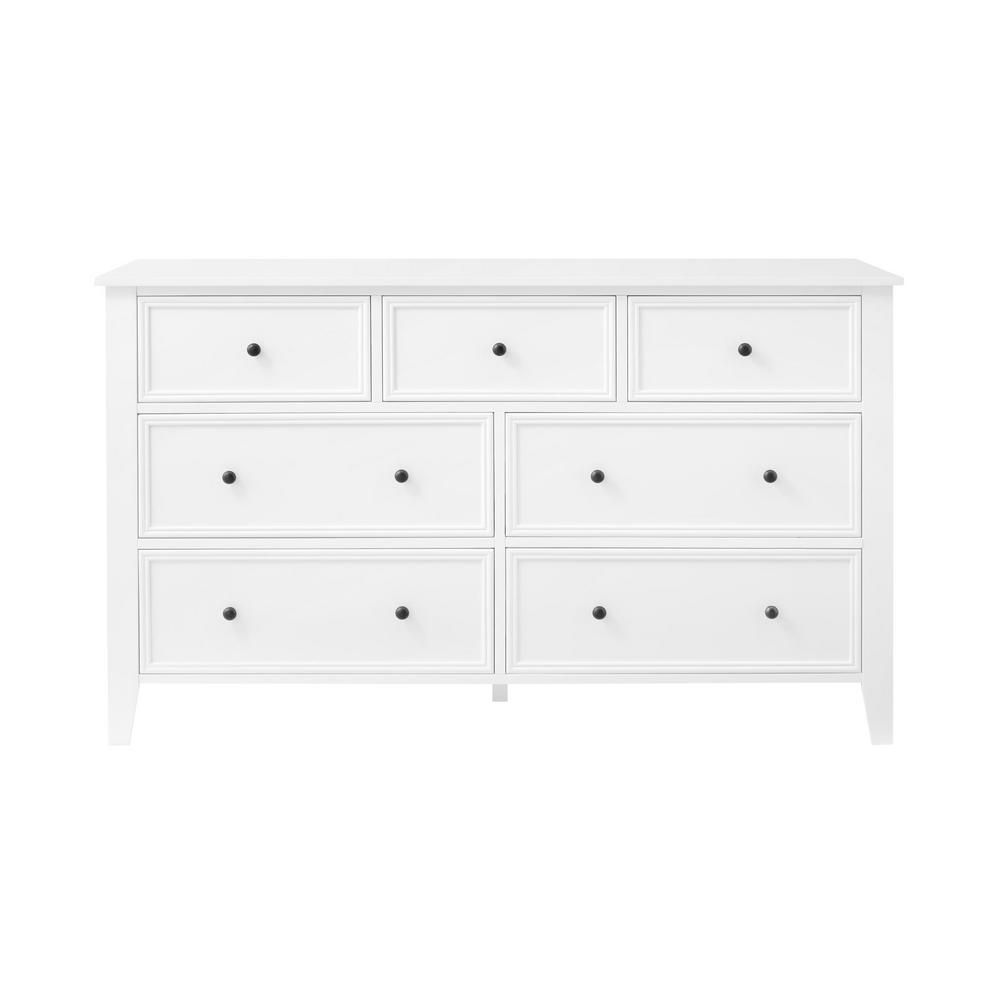 Stylewell Rigby White Wood 7 Drawer Dresser 54 5 In W X 33 In H Bf 25743 Wh The Home Depot 7 Drawer Dresser Small White Dresser White Wood Headboard [ 1000 x 1000 Pixel ]