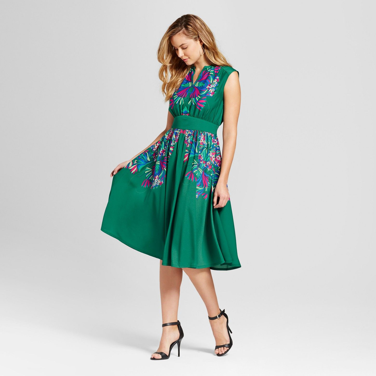 Women 39 S Placed Floral Printed Midi Dress Isani For Target Green Combo S Dresses Printed Midi Dress Floral Prints [ 1560 x 1560 Pixel ]