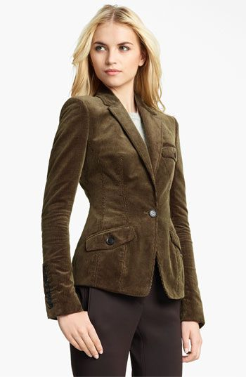 Princess seaming perfects the tailored fit of a sumptuous corduroy ...