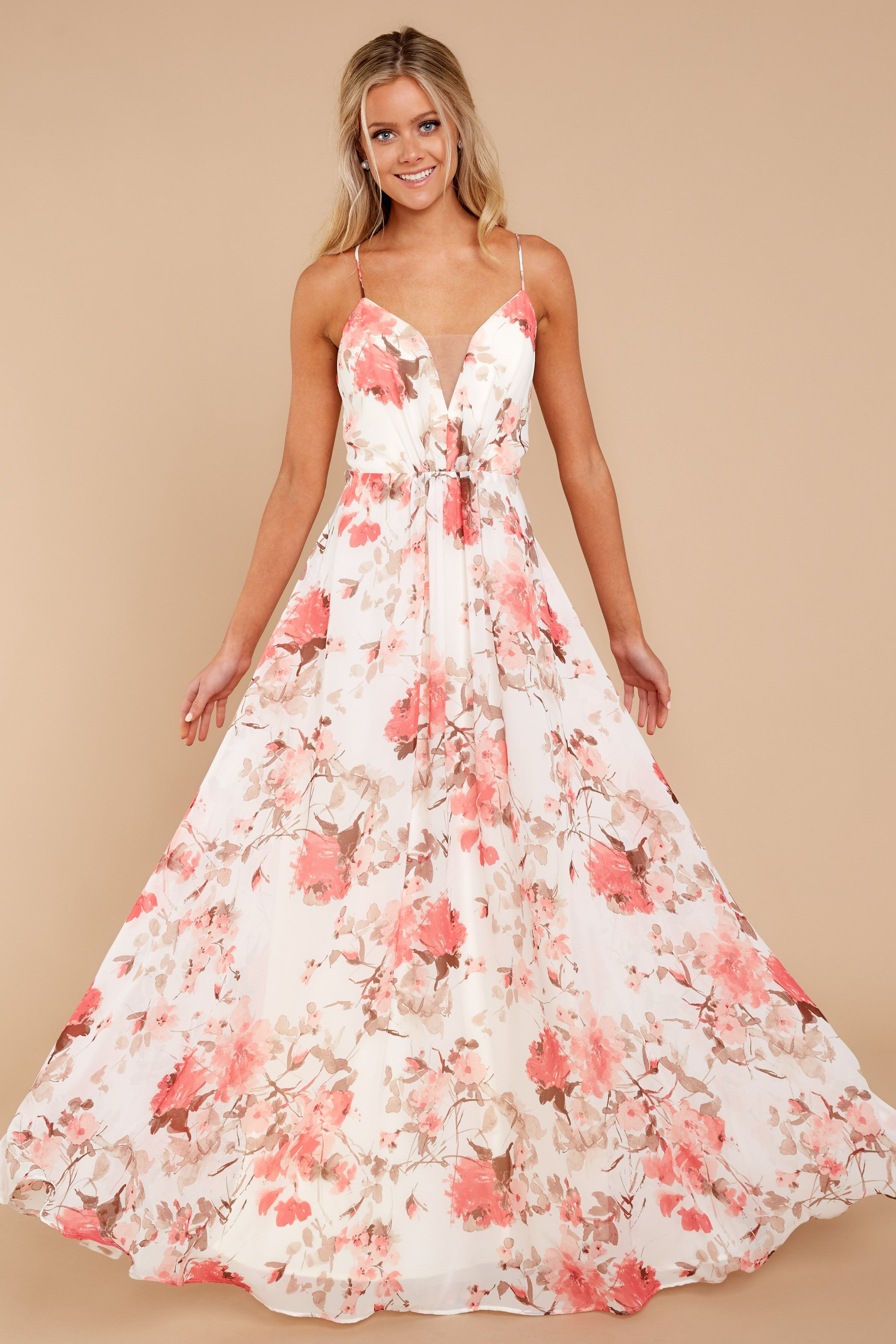 22339e2f86 Adorable Ivory Floral Print Maxi Dress - Chic Maxi Dress - Dress - $74.00 – Red  Dress Boutique