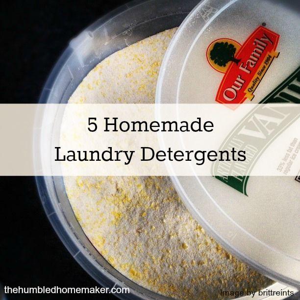 5 Unique Homemade Laundry Detergent Recipes-includes both liquid and powder and cloth-diaper safe http://thehumbledhomemaker.com