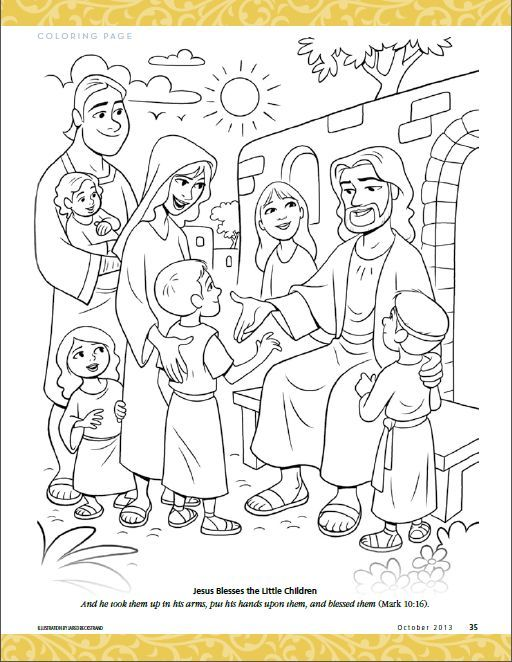 Jesus Blesses The Little Children Coloring Pages Bible Jesus
