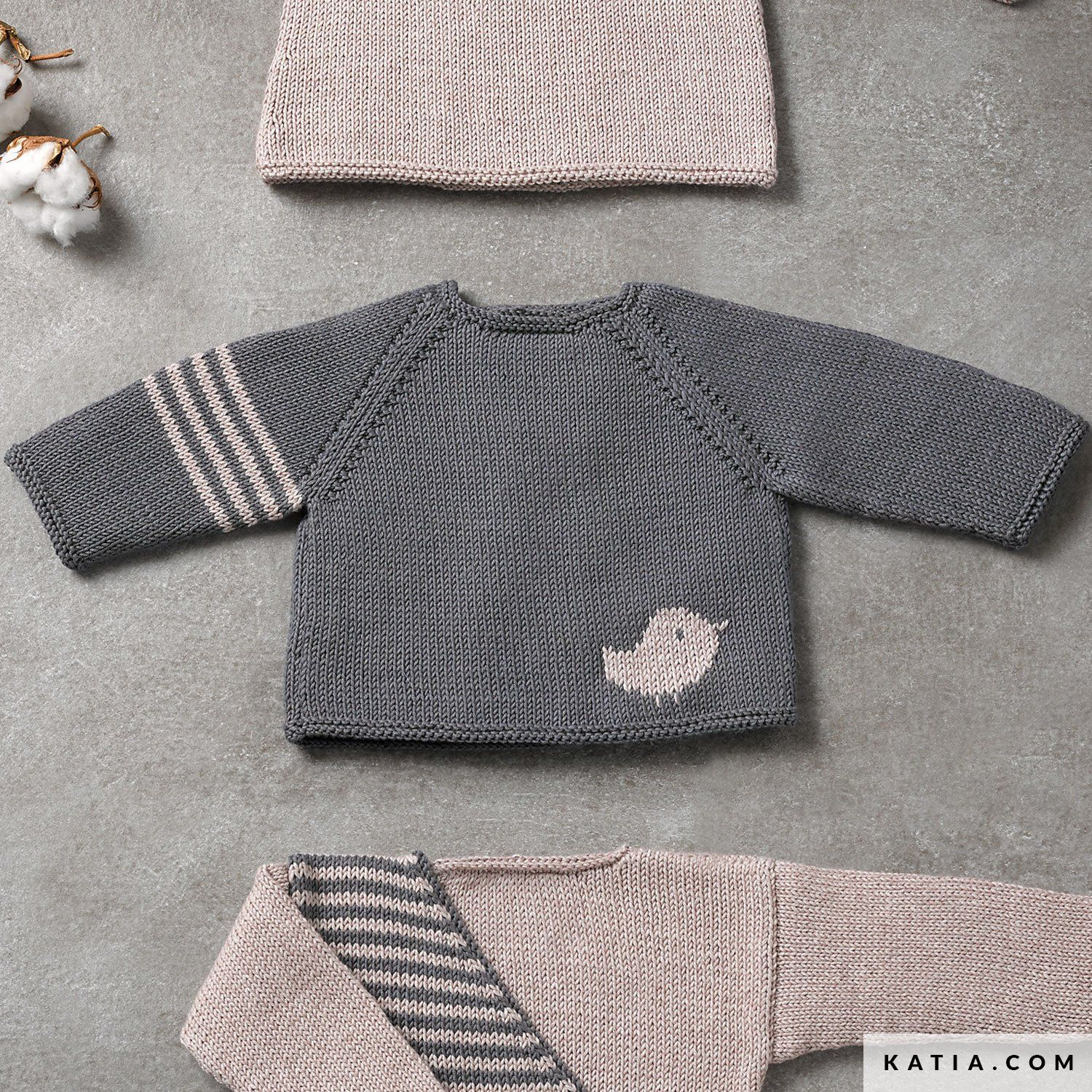 instructions knitting crochet baby sweater autumn winter katia 6038 15 g