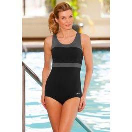 b8d42a8350c10 Dolfin Plus Size Color Block Power Back Polyester One Piece Chlorine  Resistant Swimsuit Grey