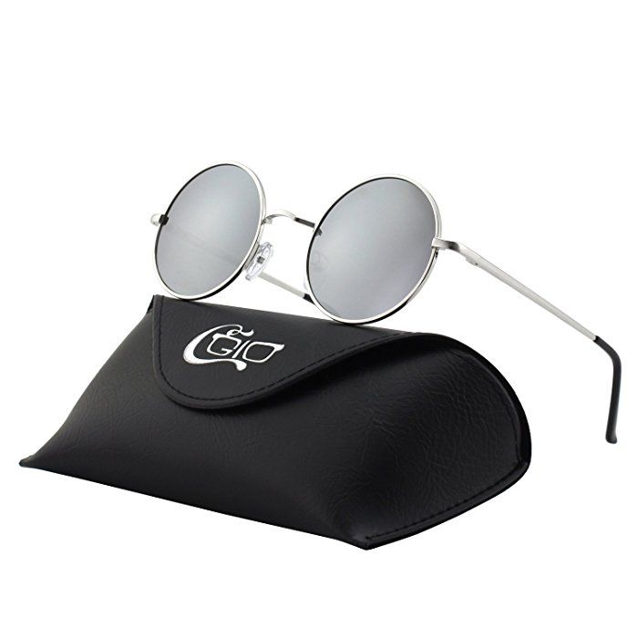 d074e3f4c5 CGID E01 Pequeño Estilo Vintage Retro Lennon inspirado círculo metálico  redondo gafas de sol polarizadas para