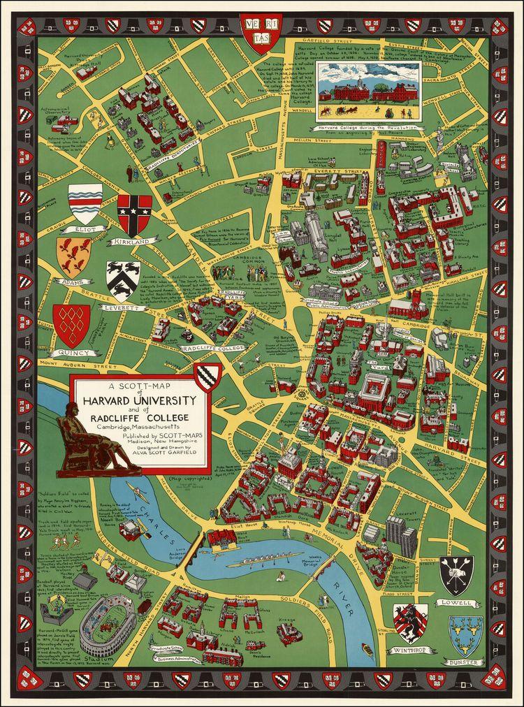 map of harvard campus Harvard University Maps Scott Map Of Harvard University And Of map of harvard campus