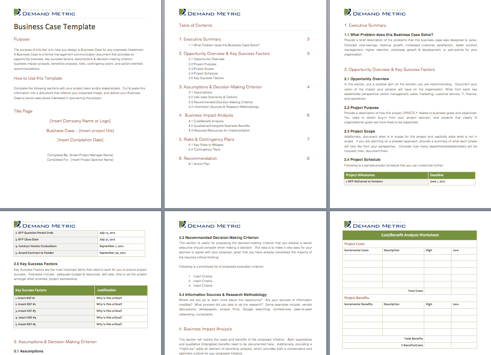 Business Case Template  Use This Template For Any Corporate