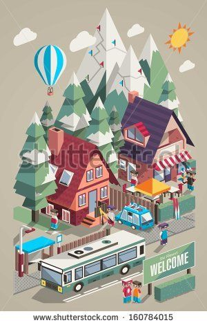 Isometric colorful vector background with ski resort and for Design skihotel