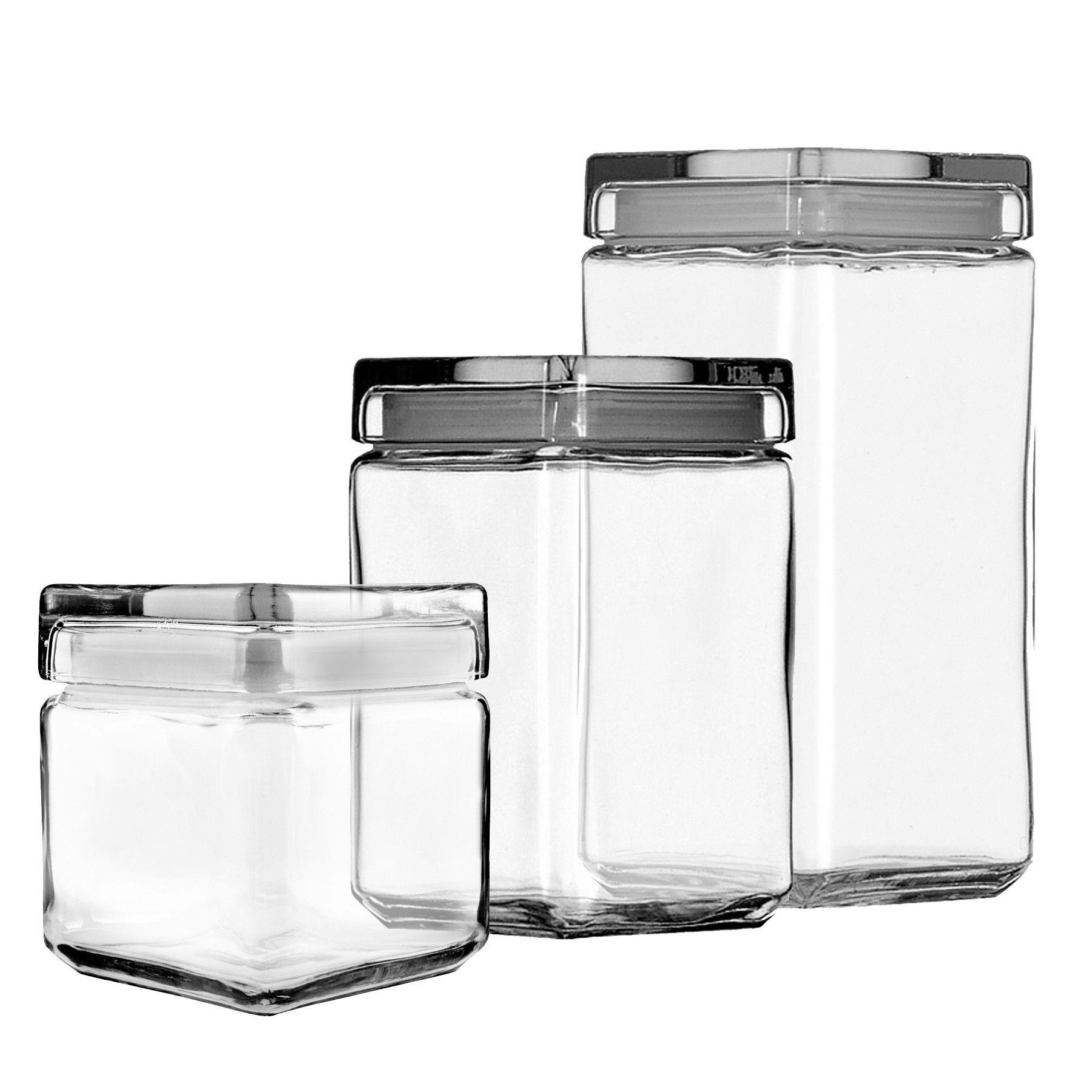 Marvelous Anchor Hocking Stackable Glass Jars Set Of 3 W/ Glass Lid   Glass Jars,  Vases U0026 Canisters   Jars U0026 Canisters   Storage U0026 Organization