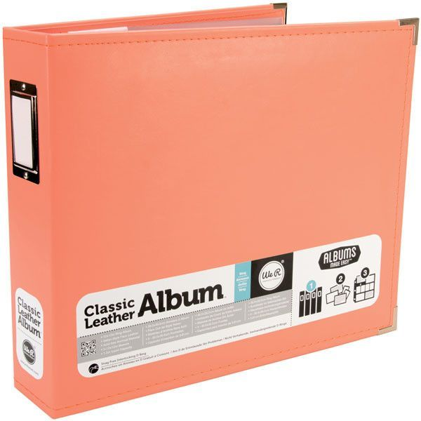 "We R Classic Leather D-Ring Album 12""x12"" - Coral"