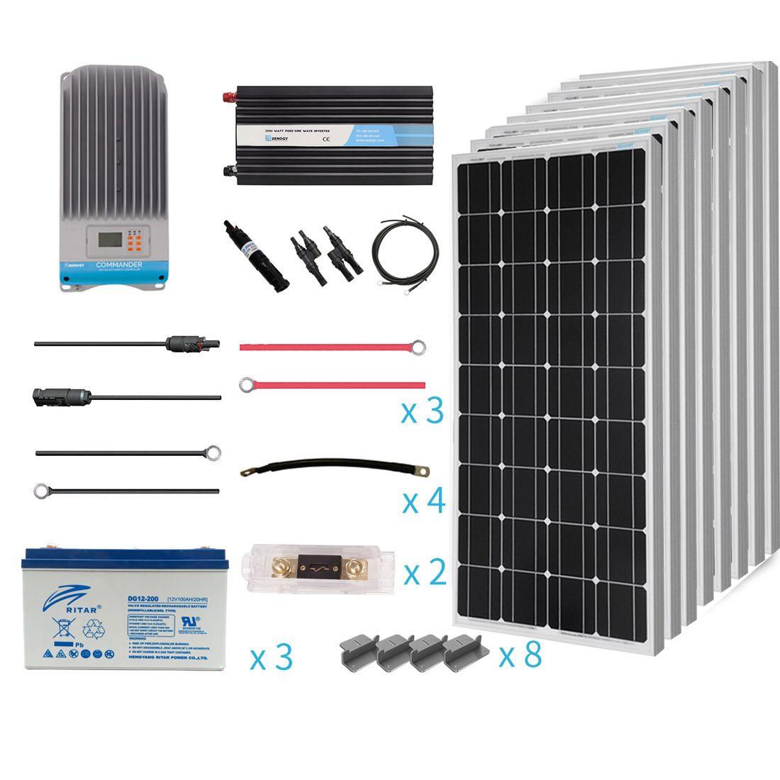 Renogy 800 Watt 12 Volt Complete Solar Premium Kit Solar System Kit Solar Panel Kits Solar Panel Installation