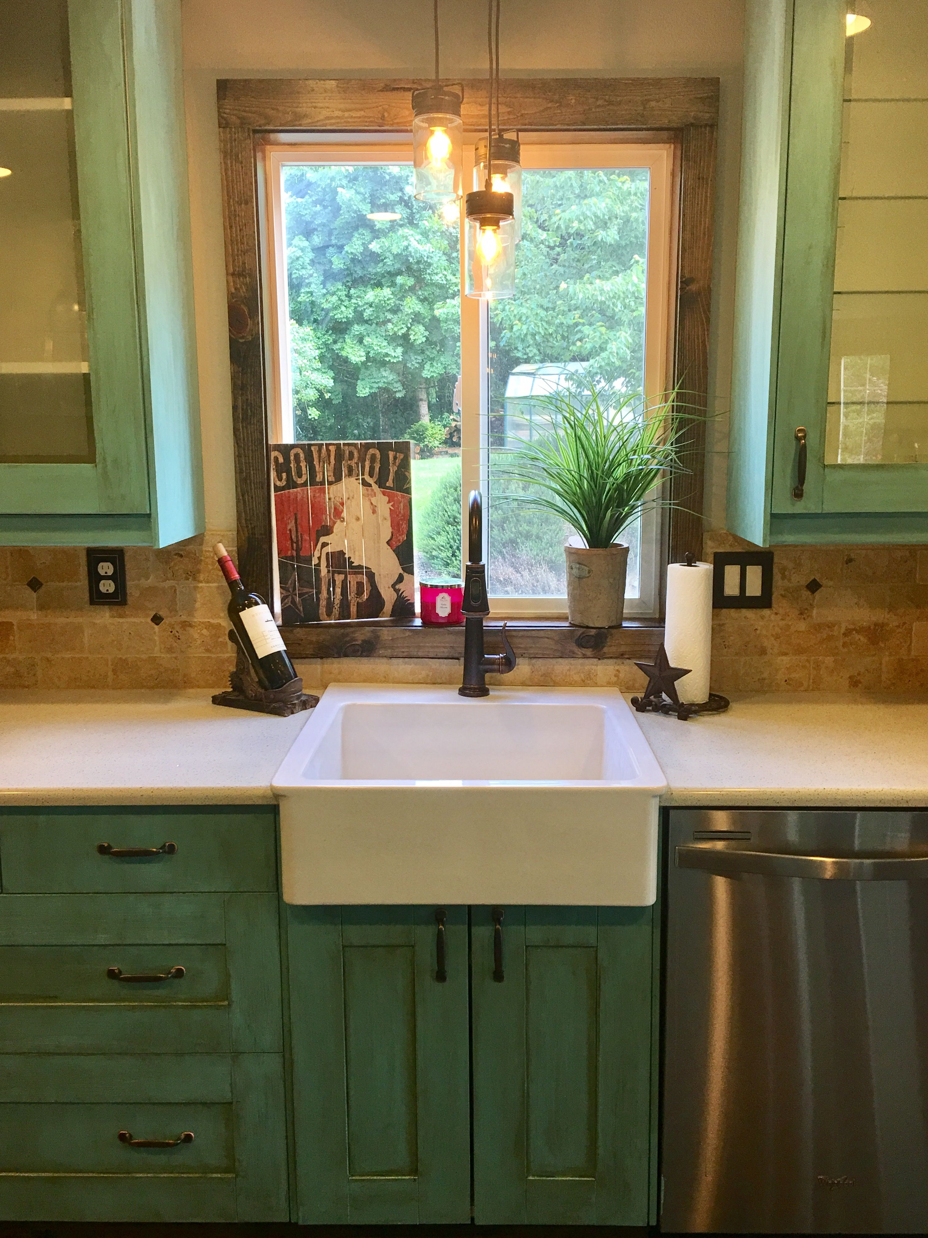 Western kitchen cabinets done with Turquoise Toulouse and ...