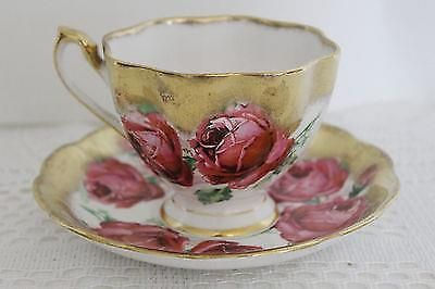 """QUEEN ANNE """"Outstanding"""" Large Pink Roses Teacup & Saucer Wide Gold Gilding #queenanne"""