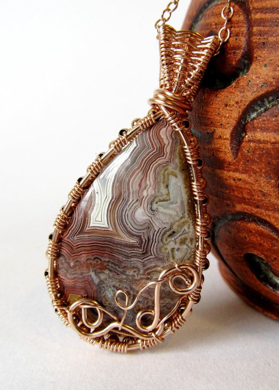 Rose Gold Wire Wrapped Agate Pendant One of a Kind Crazy Lace Agate