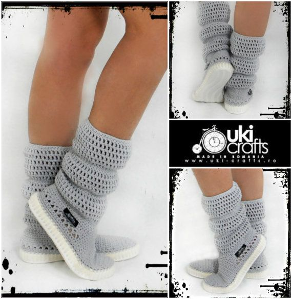 Crochet Boots Crochet Knitted Shoes adult Outdoor by ukicrafts | I ...