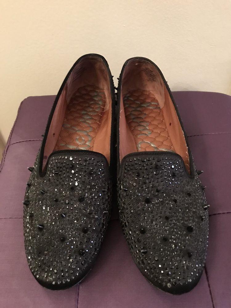 de7111f1e0d2e SAM EDELMAN Adena Spike Flats - Women s Black Spike Rhinestone Flats Size  10M  SamEdelman