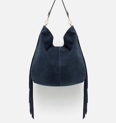 119 Zara Try Out A New Neutral With This Bag In Navy Blue Suede The Ious Silhouette Is Great For Daily Use And Has Trendy Fringe Trim