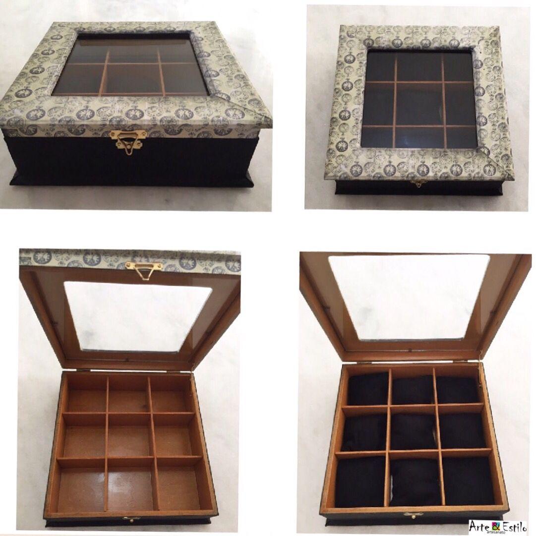 Caixa para relógio Caixa de MDF, 25x25x9cm, tampa de vidro, 9 ...