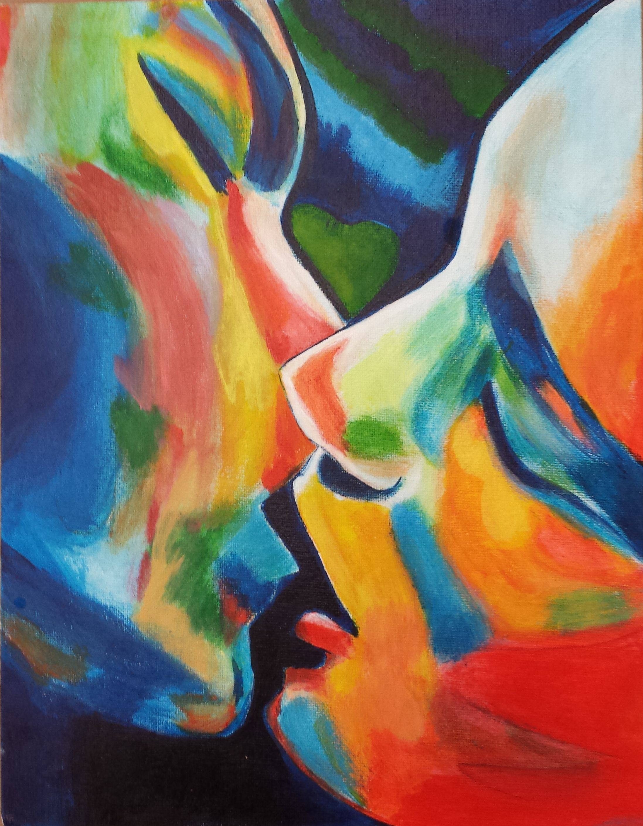 My Acrylic Painting First Kiss Aquarellbilder Einfache