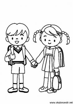 Okula Giden Kiz Erkek Boyama Sayfasi Okuloncesitr Preschool Okul Kizlar Boyama Sayfalari