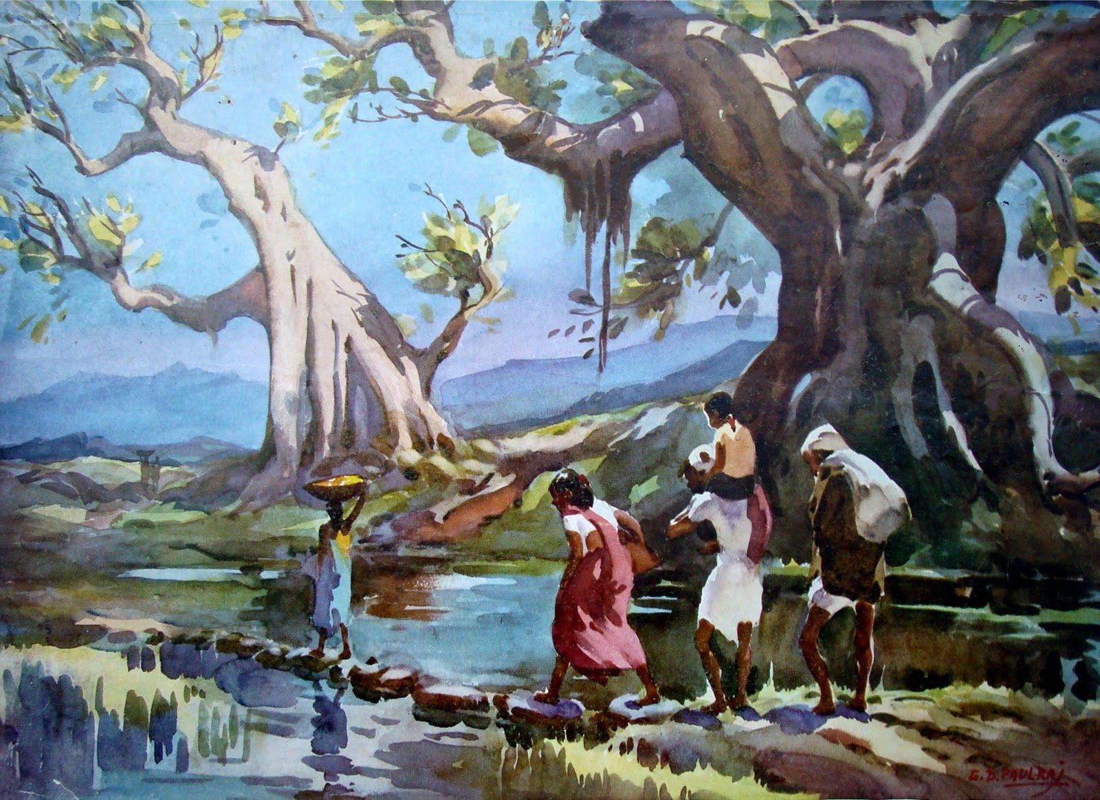 G D Paulraj To Bazar Watercolor Landscape Painting Indian Artist