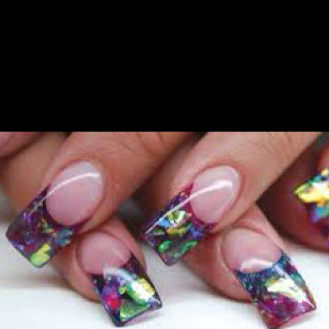Mylar and acrylic nails these are my favorite nails stained glass nails with acrylic nail forms prinsesfo Images