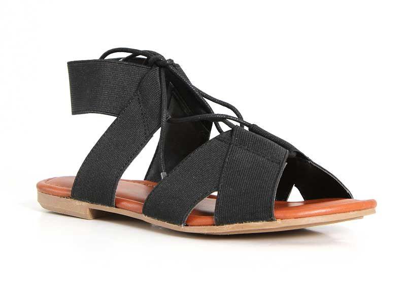 0a179043b980a Mia Shoes Bonnie Lace Up Sandals in Black