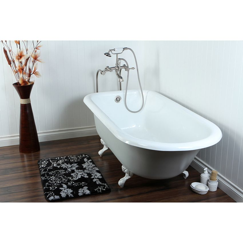 67 Clawfoot Tub W Floor Mount Satin Nickel Tub Faucet Hardware