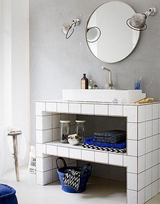 Badkameridee opgeruimd staat netjes pinterest for Funky bathroom wallpaper ideas