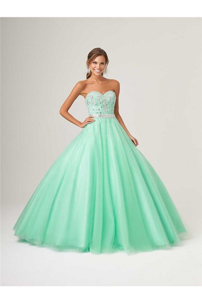09bd8647ab Puffy Ball Gown Mint Green Tulle Beaded Corset Quinceanera Prom Dress