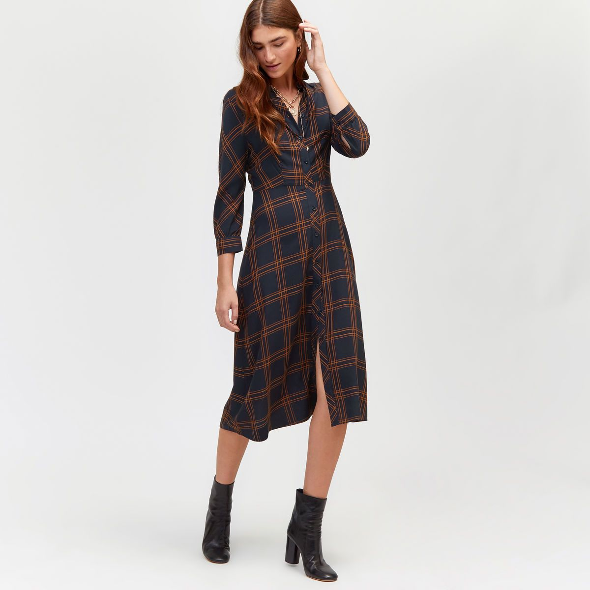 703ec644ab00d0 Check midi shirt dress in 2019