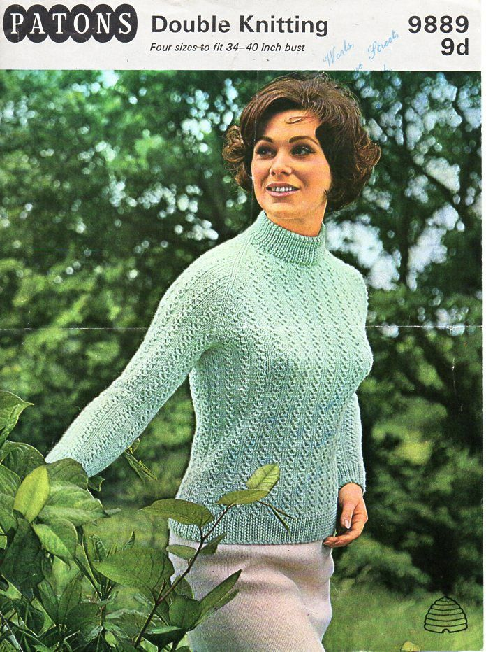 04186f332 ladies sweater knitting pattern pdf womens turtle neck jumper Vintage 60s 34 -40 inch DK light worsted 8ply Instant download by coutureknitcrochet on  Etsy