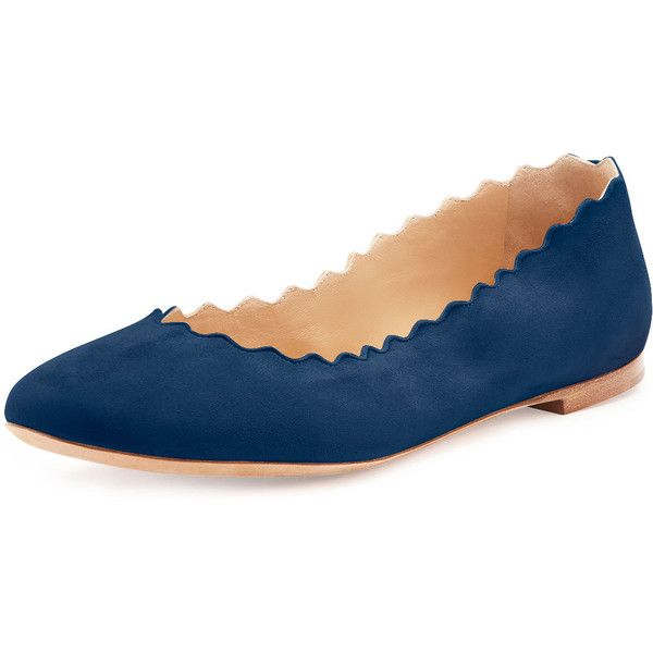 22425ae96 Chloe Scalloped Suede Ballerina Flat ($525) ❤ liked on Polyvore featuring  shoes, flats, blue lagonn, blue suede flats, ballet flats, ballet shoes, ...