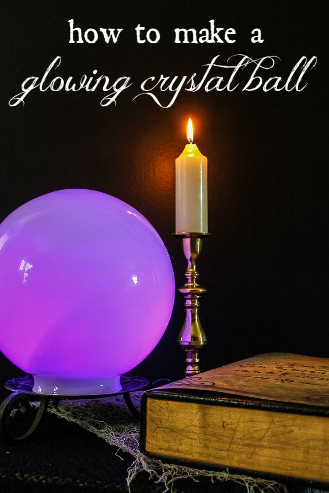 DIY Glowing Crystal Ball for Halloween - how to make a magic crystal ball with just three things and in about 5 minutes! SO EASY! #halloween #crystalball #fortuneteller #halloweendecorations #diyhalloweendecorations #fortunetellerball #glowingcrystalball