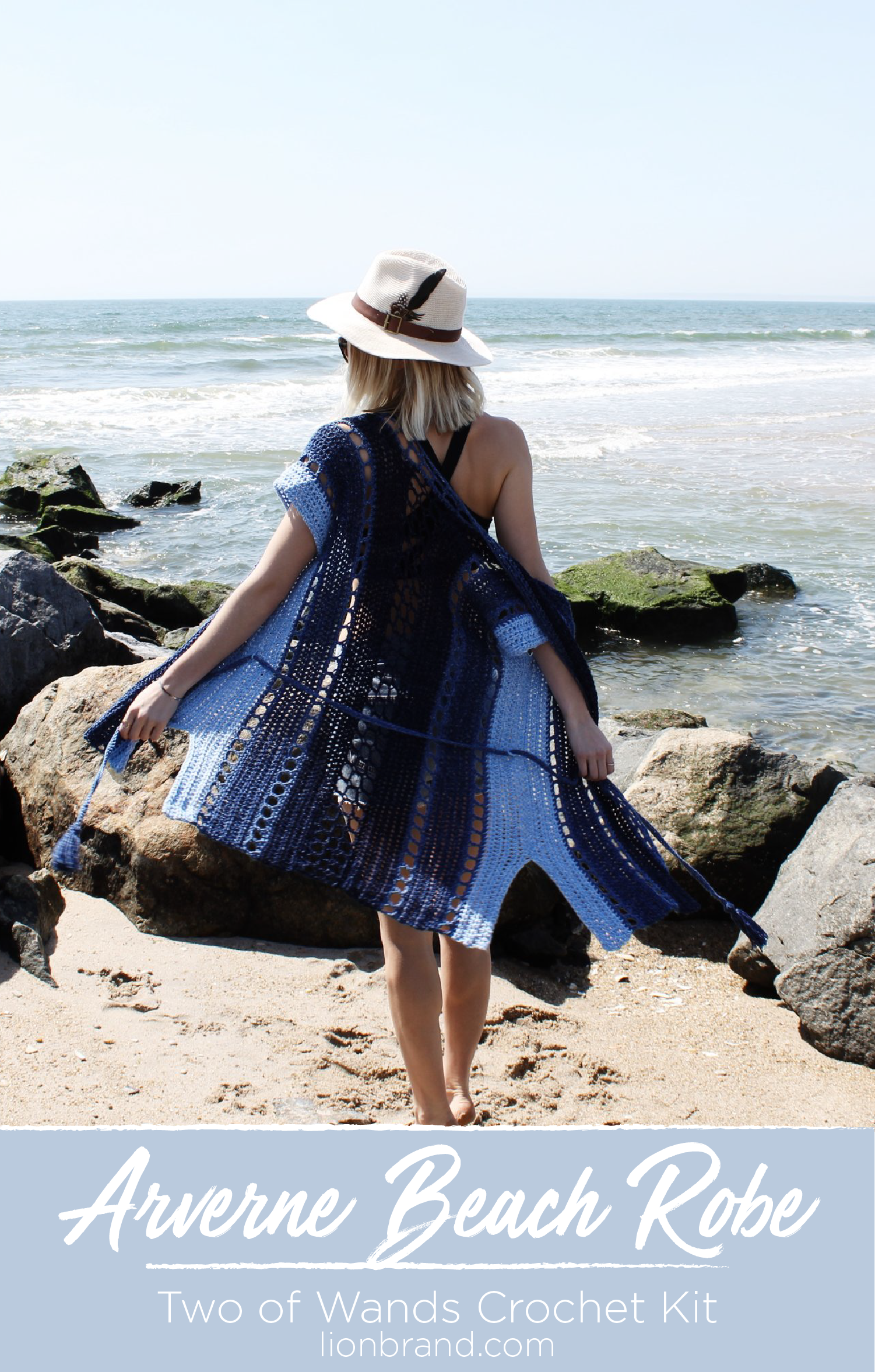 f9b349b7b2 You ll get some serious beach babe vibes with this beautiful crochet Arverne  Beach Robe kit by Two of Wands. Lightweight Jeans yarn in stunning shades  of ...