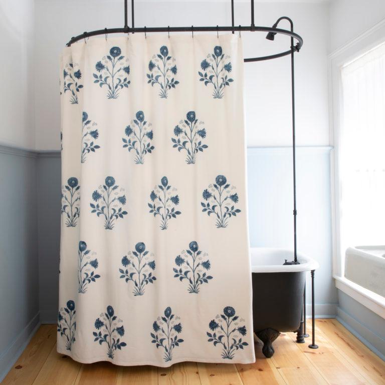 Veronique Shower Curtain In Indigo Curtains Shower Flower