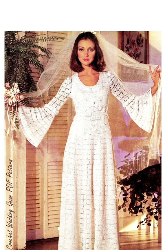Vintage CROCHET Wedding Dress - PDF Pattern - Crochet Wedding Gown ...