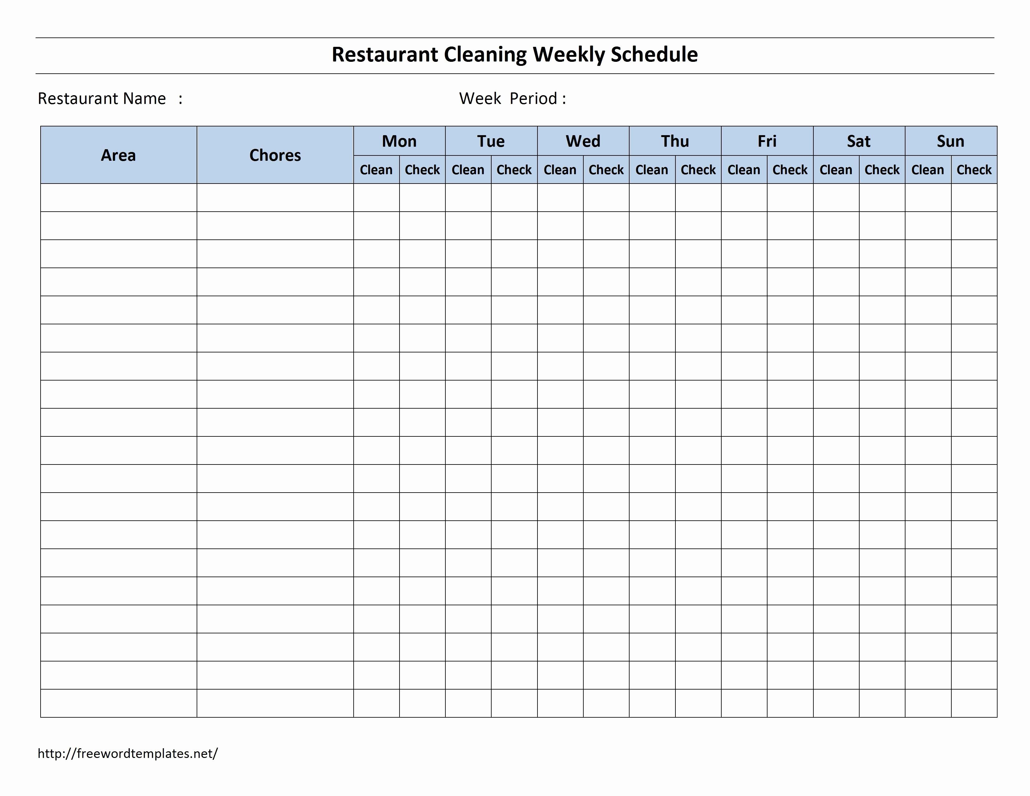 Weekly Cleaning Schedule Template Beautiful Free Cleaning Schedule Forms In 2020 Cleaning Checklist Template Cleaning Schedule Cleaning Schedule Templates Free restaurant cleaning checklist template